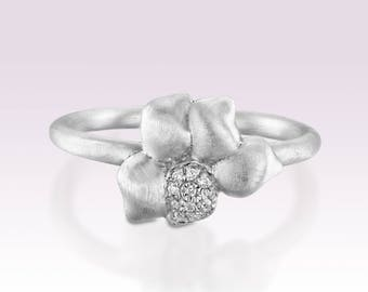 FREE SHIPPING - Cubic zirconia flower ring, Engagement nature ring, Unique silver ring size 7 3/4, Matte ring, Alternative engagement ring,