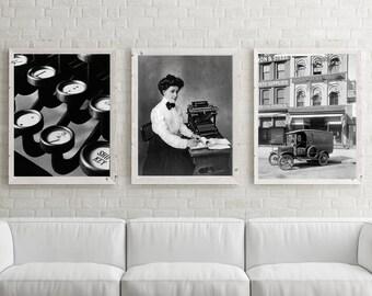 Typewriter Photos, Office Decor, Black White Photography, Vintage office, Desktop Typewriter, Typewriter Photos, Wall Decor, Art Prints