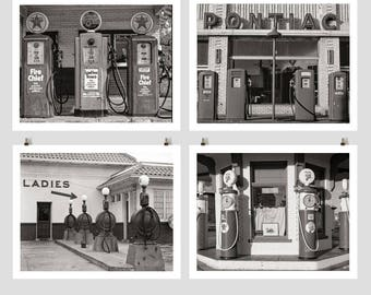 Old Gas Pumps Photo Wall Collection, Gas Station Prints, Black White Photo, Service Station Photography, Antique Gas Pumps, Retro Prints