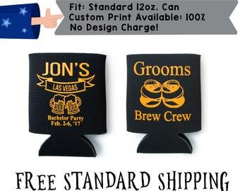 Grooms Brew Crew Name's Las Vegas Bachelor Party Date Collapsible Neoprene Bachelor Party Can Cooler Double Side Print (realphoto27)
