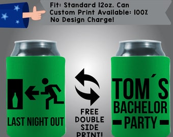 Last Night Out Collapsible Fabric Bachelor Can Coolers, Cheap Can Coolers (Etsy-Bach104)