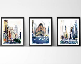 INSTANT DOWNLOAD Large City print / New York Large painting / New York Skyline / Chrysler Building / New York watercolor / New York set of 3