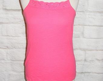 Size 12 vintage 80s cami vest top embroidered cutout diamante neck pink (HH68)
