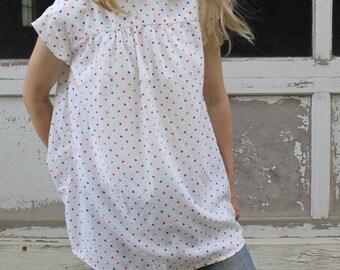 Vintage Baby Doll Top Cap Sleeve Shirt Dress Heart Print Sleeveless Blouse One Size