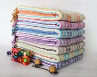 Pompon Turkish Peshtemal Hammam Towel - Fuchsia Strip - 100% Cotton - Popular - Gift - Beach Towel - Hand Towel