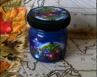Marvel Avengers Heros - Handmade, Mini Secret Stash Jar Jewellery/Trinket/Herbs/Pills/420/Mary Jane...Wedding/Party Favour Gift 45ml