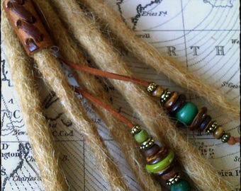 S/M - VIKING - Unique hand crafted, up-cycled genuine leather dread/hair cuff/bead with beaded tails.