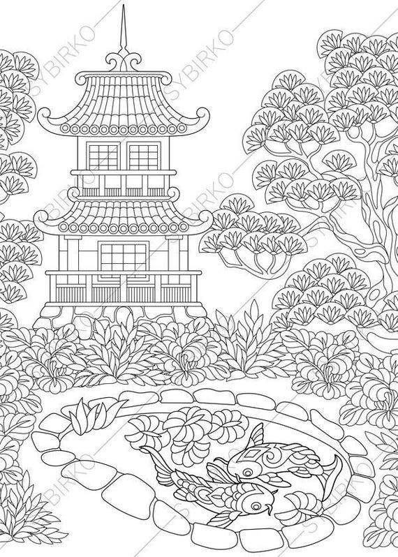 Adult Coloring Pages Japanese Garden Zentangle Doodle Book For Adults Digital Illustration Instant Download Print