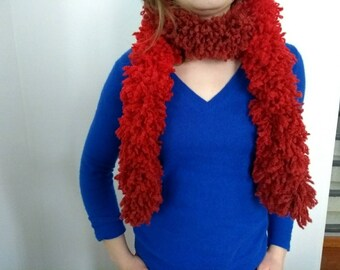 Scarf - Boa - red acrylic and wool