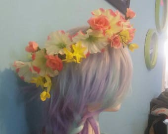 Adjustable Pink and Yellow Flower Crown