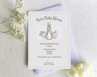 Peter Rabbit Baby Shower Invitation, Baby girl baby shower Invite, Beatrix Potter little girl baby shower invitation
