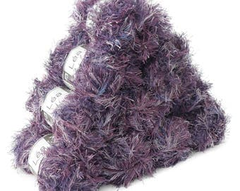 10 x 50 g effect yarn LEA with fringes, #207 violet mix