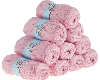 10 x 50 g knitting wool Dajana uni by VLNIKA, #471 pink