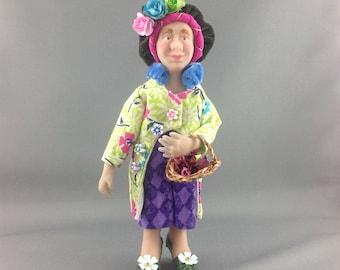 Flora 12 scale polymer clay OOAK dollshouse doll