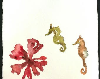 Acuarelas de mar / Original Art /delicious Sea Watercolor, on handmade paper / acquerelli unici e originali, 20x21cm / 40 euro ognuno / each