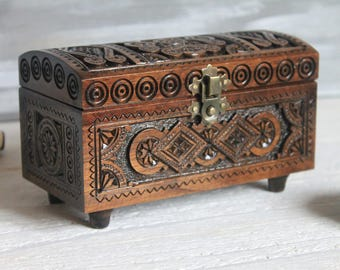 Wooden Box Wooden Jewelry Box Carved Wooden Box Wedding Box Jewelry Storage Decorative Box 16x8 cm