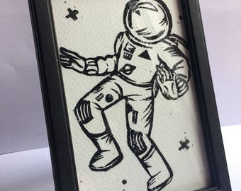 Astronaut Lino Print