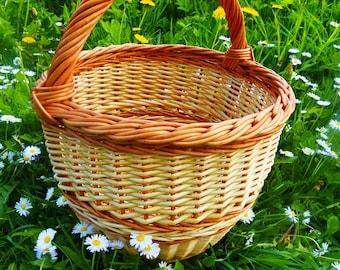 Round Wicker Basket, Round Willow Basket, Round Basket, Basket, Basket For Shopping, Flower Girl Basket, Rustic Round Basket, Photo Props