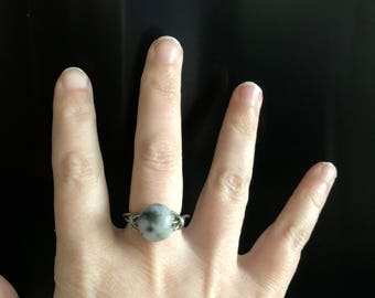Silver wire wrapped moon stone ring