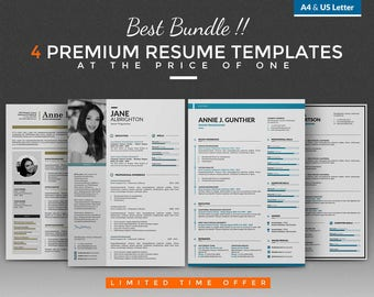 Creative Resume Template / CV Template Bundle - 4 Best Word Resume / CV Design + Cover Letter, A4 / USLetter, PC and Mac, Instant Download