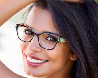 Unique womens cateye eyeglasses with wood temples trendy eyewear