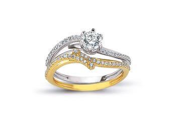 14k solid gold engagement ring set wedding ring set promise ring set custom bridal ring matching - Wedding And Engagement Ring Set