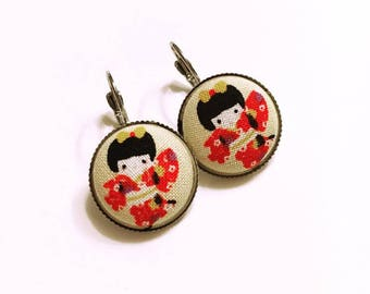 Earrings - accessory Japanese fabric covered button