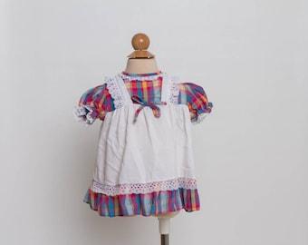 vintage 80s plaid pinafore baby dress
