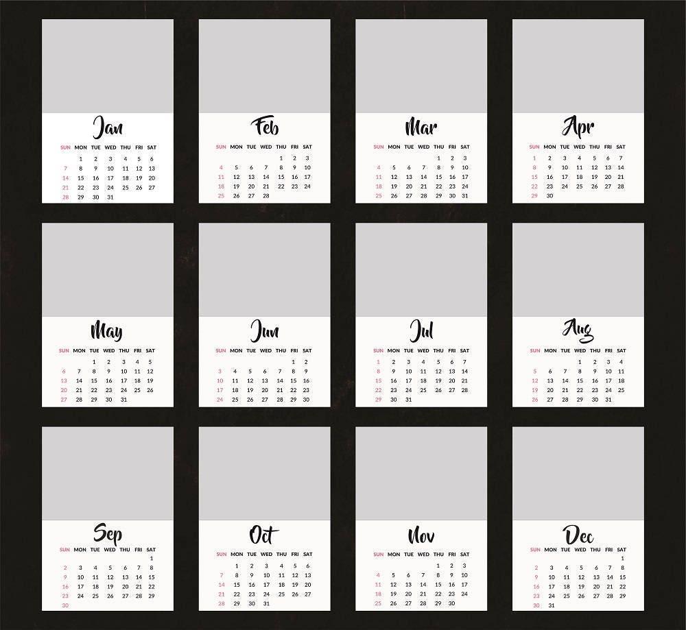 5x7 photo calendar template 2018  13 psd templates