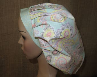 Pretty Pastel Paisley Contrasting Band Bouffant Surgical Scrub Hat