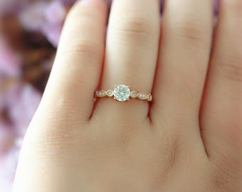 14k Rose Gold 5mm Round Moissanite Engagement Ring Half Eternity Diamond Promisie Ring Forever Classical moissanite Wedding ring Bridal Ring