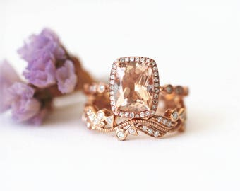 Natural 9*7mm Cushion Morganite Ring Diamonds Halo Ring 14K Rose Gold Morganite Engagement Ring Art Deco Bridal Set Halo diamond band ring