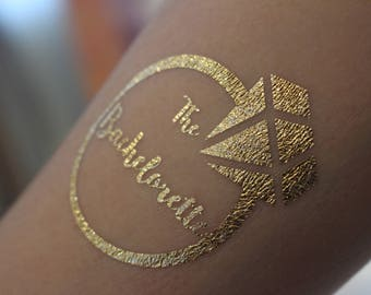 Set of 25: Hens GOLD FOIL flash tattoo - Hens Night, Bachelorette Party, Bridal Shower, Engagement, Wedding Accessories, Bride, Bridesmaid