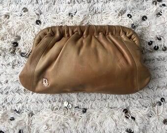 Vintage CHRISTIAN DIOR PARIS Logo Tan Leather Clam Framed Clutch Evening Bag Purse