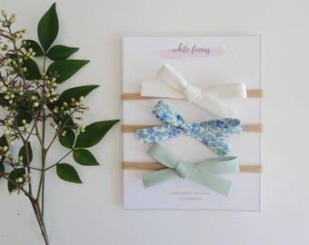 Mini Bias Tape Bow Set - Hampstead /Girl Headband/ Nylon Headband/ Cotton Bows/ Fabric Headband/ Spring Bows/Newborn Bows/Girl Headbands