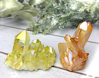 Yellow And Orange Aura Quartz Crystal Cluster, Quartz Cluster, Yellow Crystal, orange crystal, christmas crystal clusters
