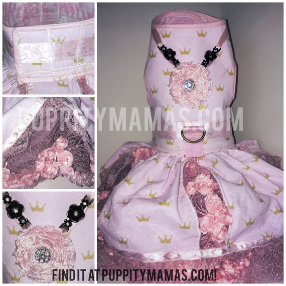 Pink Princess Puppy Dress, wedding rose lace and crown cotton with bejeweled bodice and Pirate Proof leash reinforcement to defend her honor