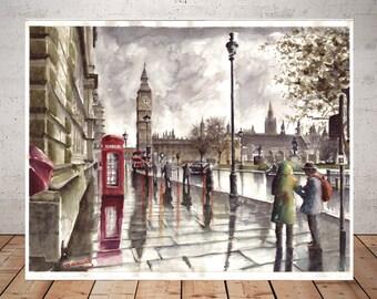 London England,  London Print, london watercolor print, london decor, city art, london watercolour art, telephone box, watercolor city poste