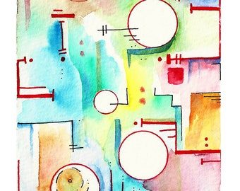 """Abstract Watercolor (""""Meow"""") 