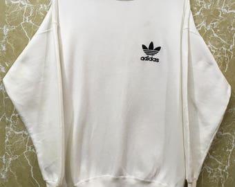 Vintage 80s Adidas big logo white colour block hip hop swag sweatshirt jacket made in usa M size