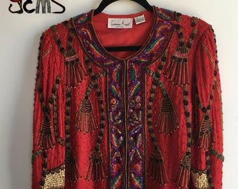 Vintage Sequin Beaded Dress Shirt