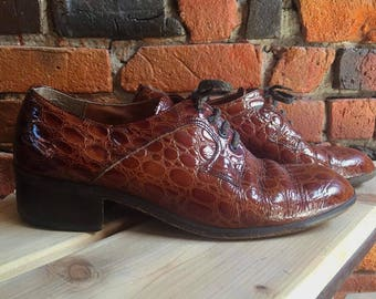 Men's 70s Tan Brown Leather Lace Up Shoes Brogue With Small Heel Size US 9.5