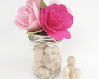 Felt Flower Mason Jar . Craft Organization . Office Organization . Bath Organization Decorative Jar