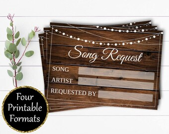 Wedding Song Request Cards - Printable Song Request Cards - Instant Download - Song Request RSVP Cards - Wedding Music Song Request Card