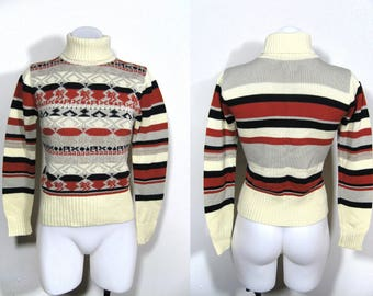 sz S/M | Chego vintage 70s 80s Fair Isle striped knit rust orange black gray cream fitted turtleneck sweater / vintage acrylic sweater