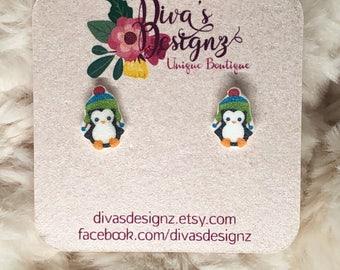 Penguin earrings-christmas earrings- christmas accessories- stud earrings- cute earrings