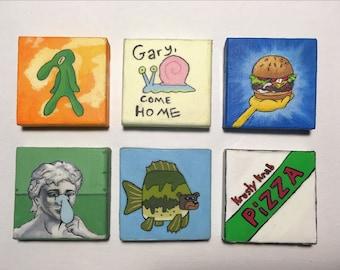 "Sponge-bob meme themed magnets 2x2"""