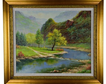 """Impressionism, Large Original Hand Painted Landscape Art, """"Stream and Trees"""" 25 x 30"""