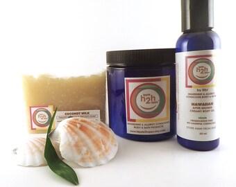 Sugar Scrub, Body Oil, Gift Set, Natural Soap Set, Coconut Milk Gift Set, Dye Free, Tropical Hawaiian Gift Set, Wedding Favors, Foot Scrub