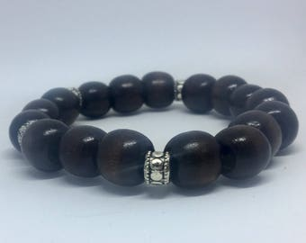 Men's Coconut Bead Stretch Bracelet, Brown Beaded Bracelet, Father's Day Bracelet, Mens Cuff Bracelet, Coconut wood Bracelet, Mens Jewelry